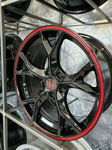 Four 17x7 5 Gloss Black Red Accent Type R Style Wheels Fits Honda Accord Civic