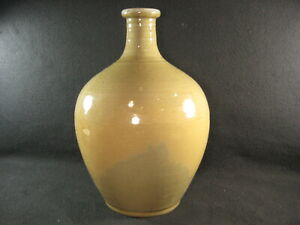 Antique Japanese Meiji Era C 1880 Ceramic Celadon Shigaraki Vase Crackle Glaze