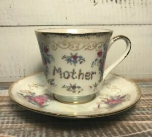 Norleans Mother Of Pearl Luster Mother Tea Cup Saucer Set Roses Floral Japan