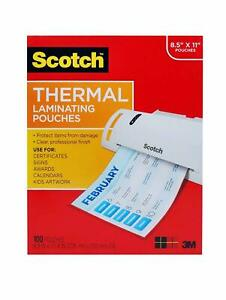 Scotch Thermal Laminating Pouches 8 9 X 11 4 100 pack X 3 300 Total Pouches