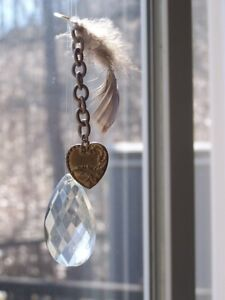 Crystal Car Rear View Mirror Jewelry Decor Ornament Window Feather Heart
