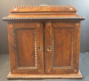 Antique English Rosewood Jewelry Chest With Mother Of Pearl Inlays