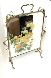 Vtg Antique Art Nouveau Brass Free Standing Mirror Fire Place Screen French 29