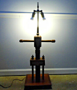 Vintage Faux Book Wooden Press Table Lamp Carved Screw 38 Tall