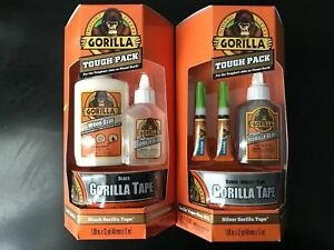 Gorilla Tough Pack Lot Of 2 Black And Silver Gorilla Tape Glue And Wood Glue