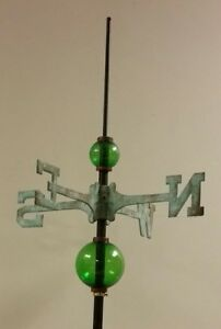 Full Weathervane Set Up 2 5 4 5 Glass Balls Rod Directionals No Mount