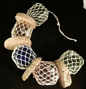 Vintage Fishing Float 5 Colored Glass 3 Square Floats With Net
