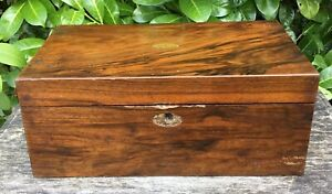 Old Antique Victorian Rosewood Brass Inlay Detail Writing Slope Box For Tlc