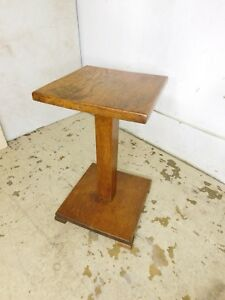 Vintage Mission Solid Oak Petite Table Stand Pedestal Plant Tabouret End Table