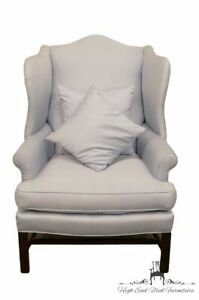 Henredon Pale Baby Blue Upholstered Wingback Arm Chair