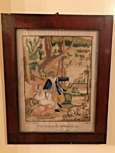 Rare Antique French Silk Embroidery Needlework Circa 1829