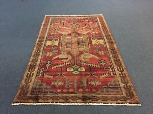 On Sale Semi Antique Hand Knotted Persian Hamadan Rug Geometric Carpet 4 8 X7 9