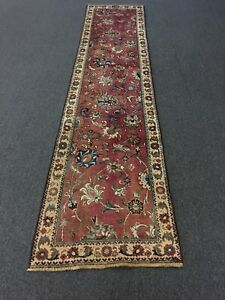Sale S Antique Hand Knotted Persian Rug Tabrizz Carpet Geometric Runner 2 4x10 3