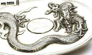 Old Chinese Export Sterling Silver Vanity Mirror Brush With Dragon Mk 115g