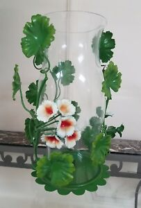 Vintage Mcm Italian Tole Candle Holder Centerpiece Flowers Vines Hurricane Shade