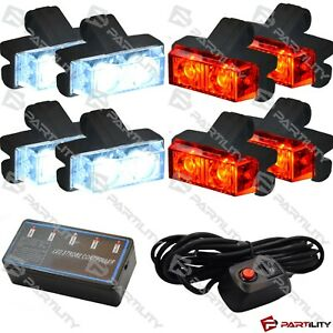 16 Led Red White Light Grill Emergency Utility Warn Strobe Flash Hazard Advisor
