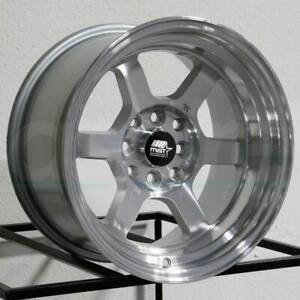 15x8 Mst Time Attack 4x100 4x114 3 0 Silver Machined Wheels Rims Set 4