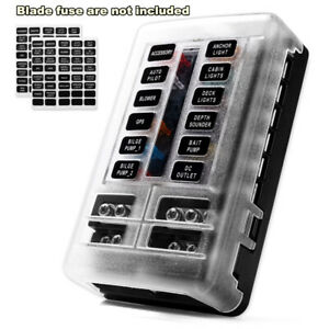 12 Way Blade Fuse Box Block Holder Led Indicator 12v 32v Auto Marine Waterproof