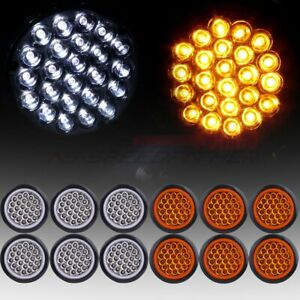 12 Amber White 4 Round 24led Trailer Truck Side Marker Clearance Tail Light