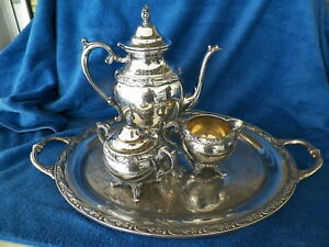 Vntg Rogers Silverplate Exquisite 4pc Tea Coffee Service