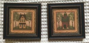 Two Small Wooden Primitive Home Barn Hanging Pictures In Frame