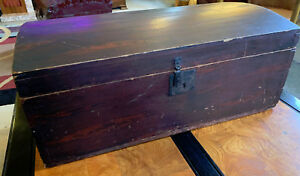 Early 19thc Antique Small Chest Original Milk Paint Forged Nails