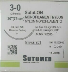 Sutumed Black Nylon Monofilament 3 0 3 8 36mm Reverse Cutting Surgical Suture
