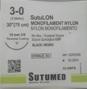 Sutumed Black Nylon Monofilament 3 0 3 8 19mm Reverse Cutting Surgical Suture