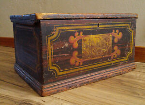 Antique 19th C Hand Painted Ship Eastern American Travel Trunk Box Chest