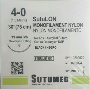Sutumed Black Nylon Monofilament 4 0 3 8 19mm Reverse Cutting Surgical Suture