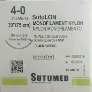 Sutumed Black Nylon Monofilament 4 0 3 8 24mm Reverse Cutting Surgical Suture