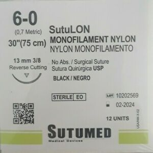 Sutumed Black Nylon Monofilament 6 0 3 8 13mm Reverse Cutting Surgical Suture