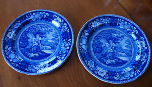 Pair Of 19th C Dark Blue Sheltered Peasants Staffordshire 10 Plates