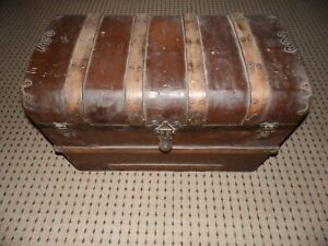 Antique Domed Camel Hump Backed Trunk Wood Tin