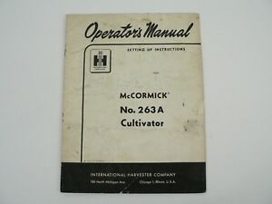 Mccormick 236a Cultivator Owners Manual Set Up Instructions International 1959