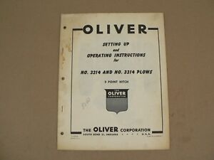 Oliver Setting Up 3214 3314 3 Point Hitch Plows Owners operators Manual Vintage