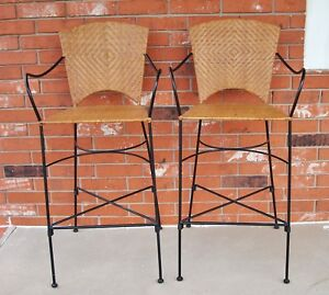 Pair Of Vintage Mid Century Modern Design Wrought Iron Rattan Bar Stools