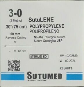 Sutumed Polypropylene 3 0 Straight 60mm Reverse Cutting Surgical Suture
