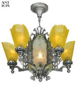 Art Deco Slip Shade Chandelier With Cut Glass Center Panels Ant 1078