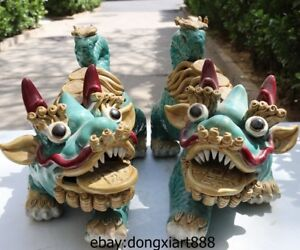 14 Chinese Wucai Porcelain Blue Pottery Foo Dog Dragon Kylin Lion Animal Statue