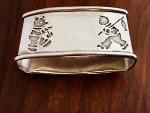 Webster Co Sterling Silver Napkin Ring Teddy Bear Fishing Cat No Monograms