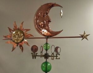 Sun Moon Star Weathervane Extra Large Nsew Glass Balls Rod Sold As Shown
