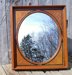 Antique Victorian Carved Eastlake Walnut Wall Mirror Rectangle Frame Oval Glass