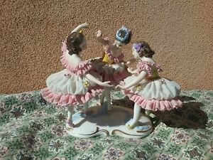 Antique Dresden Volkstedt Ballerina Dancer Lace Art 1900s Porcelain Figurines