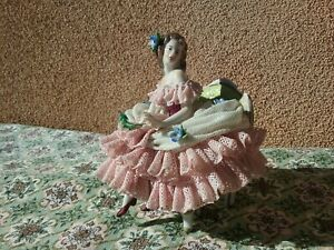 Antique Dresden Lace Figurine German Porcelain 4 5 Vintage Early 1900s Intact