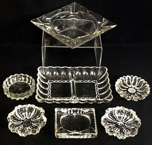 Vintage Lot Of 7 Clear Depression Era Glass Antique Ashtrays Barware Man Cave