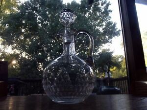Antique Victorian Decanter Cruet Cut Glass Georgian Honeycomb Hollow Stopper