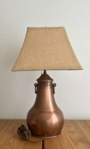 Rare Antique Arts And Crafts Copper Table Lamp W O Shade