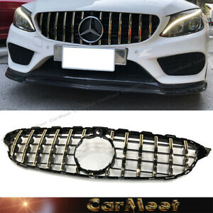 For Benz 04 09 W209 Clk Coupe Convertible Front Frame Grille D Shiny Black Color
