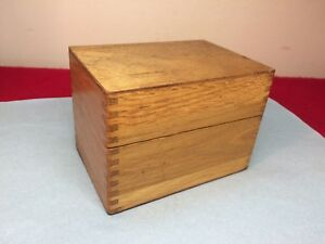 Vintage 5 X3 Oak Wood Card Catalog File Cabinet Recipe Box W Finger Joints